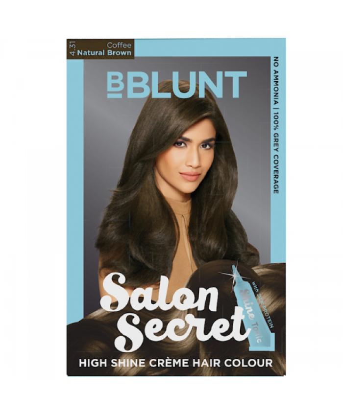 BBLUNT Salon Secret High Shine Creme Hair Colour, Coffee Natural Brown 4.31, 100g