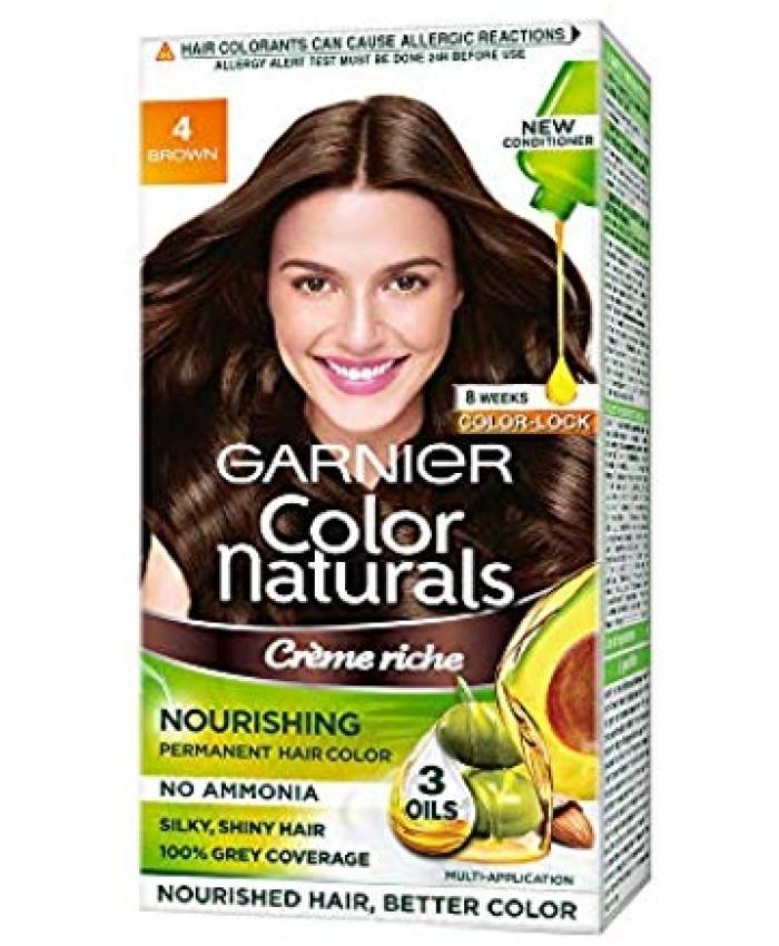 Garnier Color Naturals Crème hair color, Shade 4 Brown, 70ml + 60g