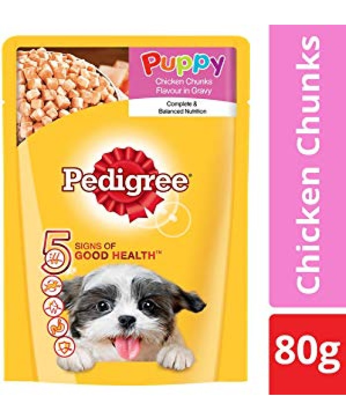 Pedigree Puppy Chicken Chunks Flavour in Gravy- 80 g Pouch