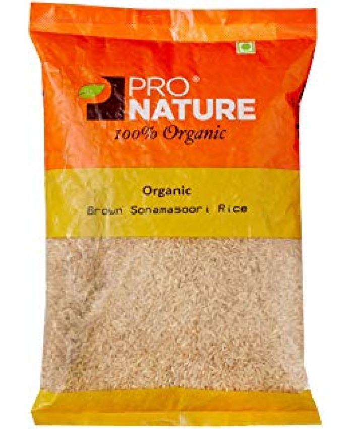 Pro Nature Organic Sonamasoori Rice, Brown, 1kg