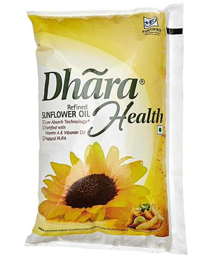 Dhara Health Refined Sunflower Oil : 1 Litres
