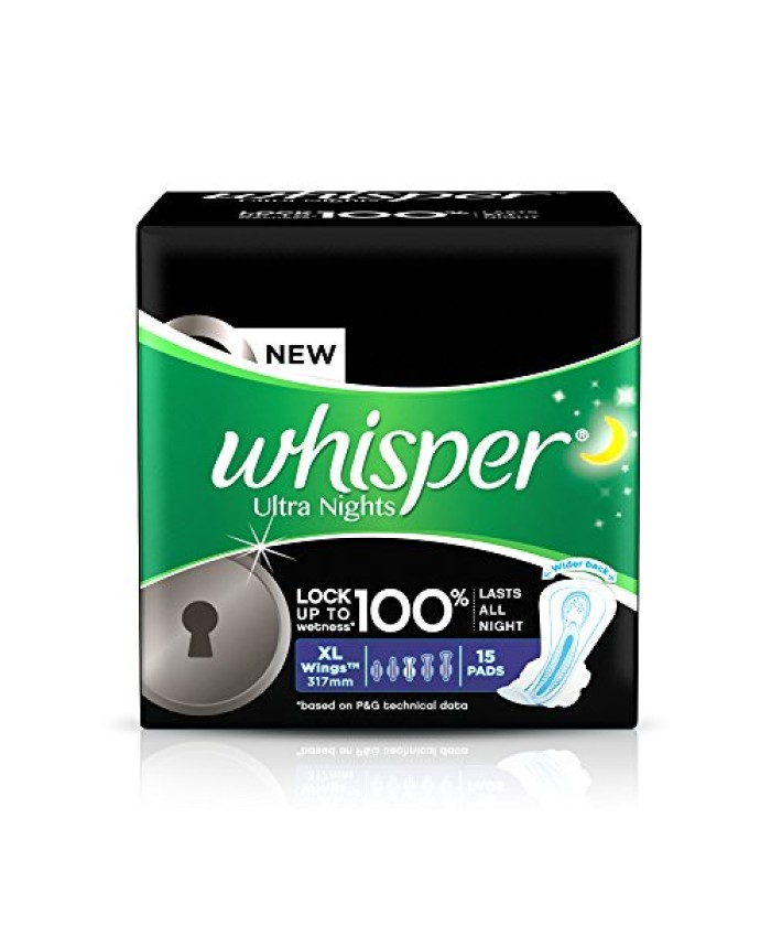 Whisper Ultra Overnight Sanitary Pads XL Plus wings (15 Count)